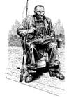 Dibujo para colorear Pescador