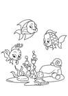 Dibujo para colorear pescar con amigos