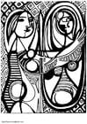 Dibujo para colorear Picasso - niña frente al espejo