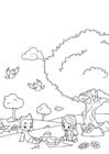 Dibujo para colorear picnic de primavera