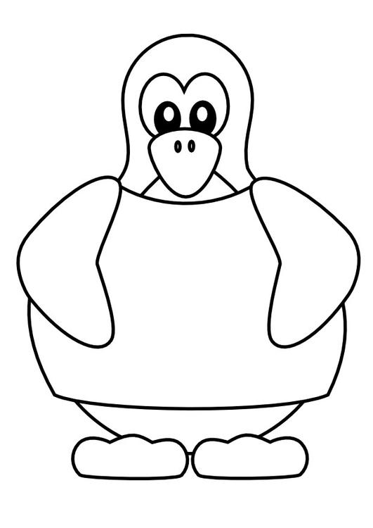 Dibujo Para Colorear Pingüino Con Camiseta Img 9988
