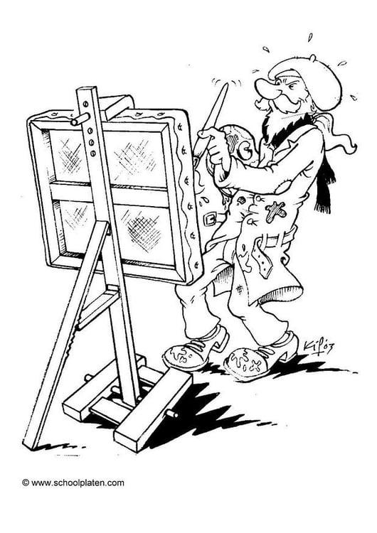 Dibujo para colorear Pintor artístico - Img 2861