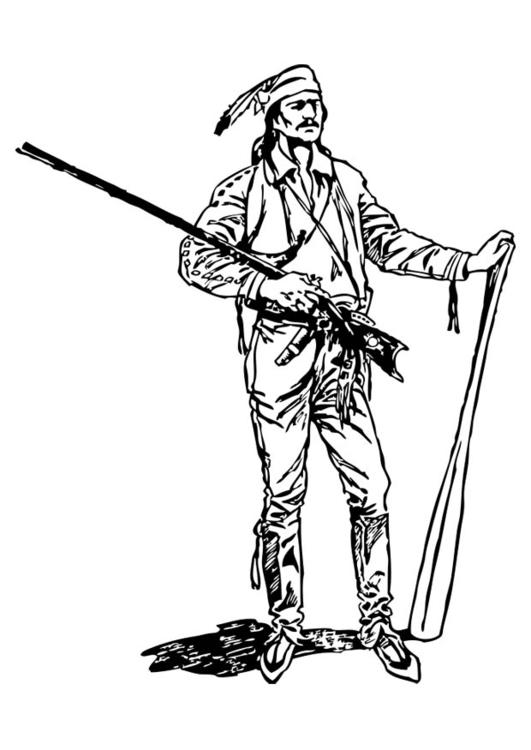 Dibujo para colorear pionero - Img 17391