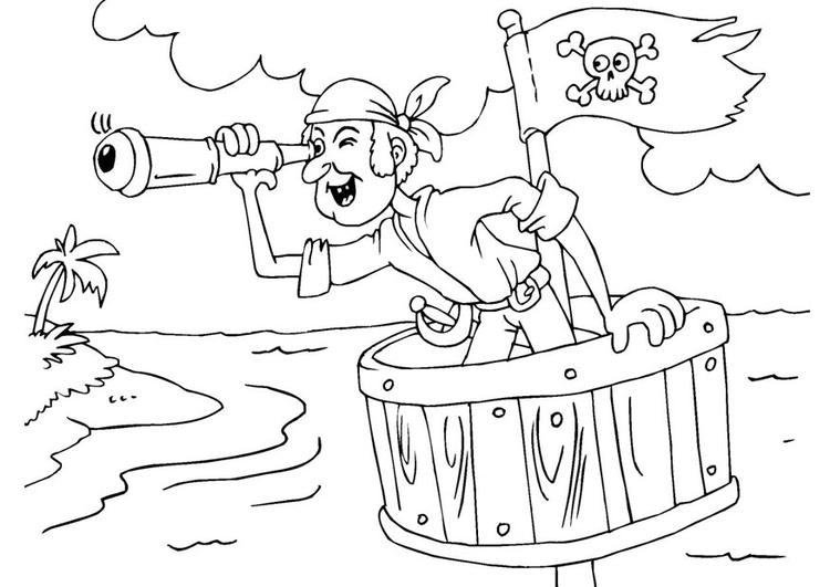 Dibujo Para Colorear Pirata En Puesto De Guardia Img 25977