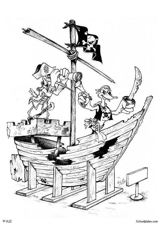 Dibujo para colorear Piratas barco pirata  Img 5496
