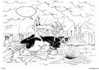 Dibujo para colorear Plantar árboles, pájaro en fábrica