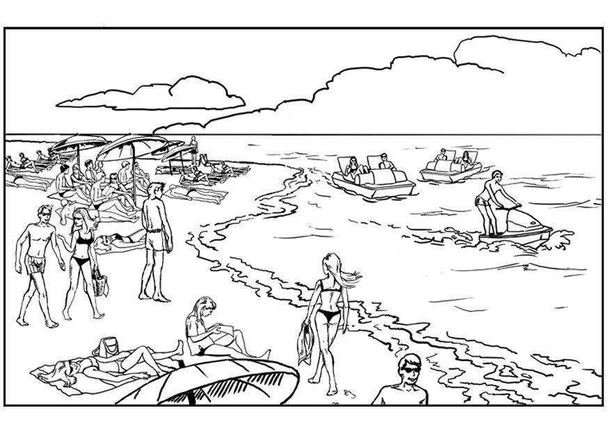Dibujo para colorear Playa y mar Img 7578