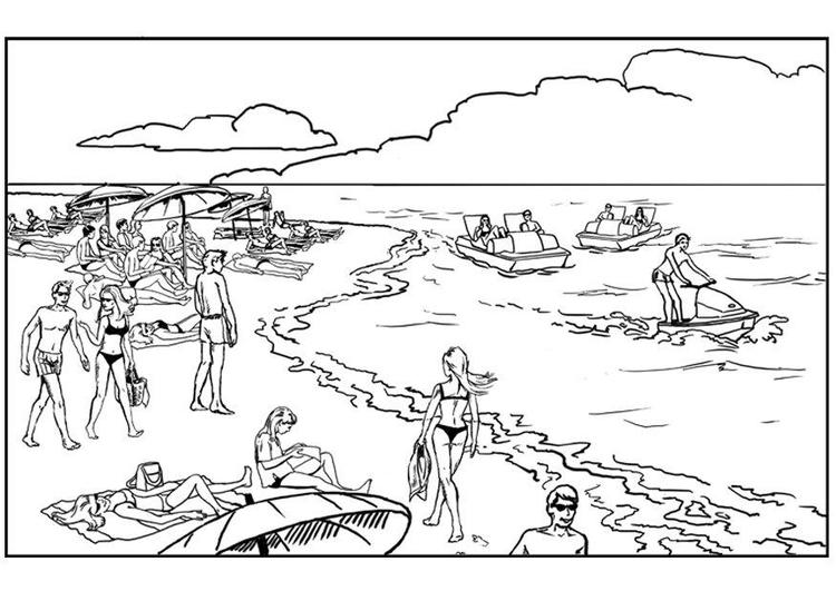 Dibujo para colorear Playa y mar - Img 7537