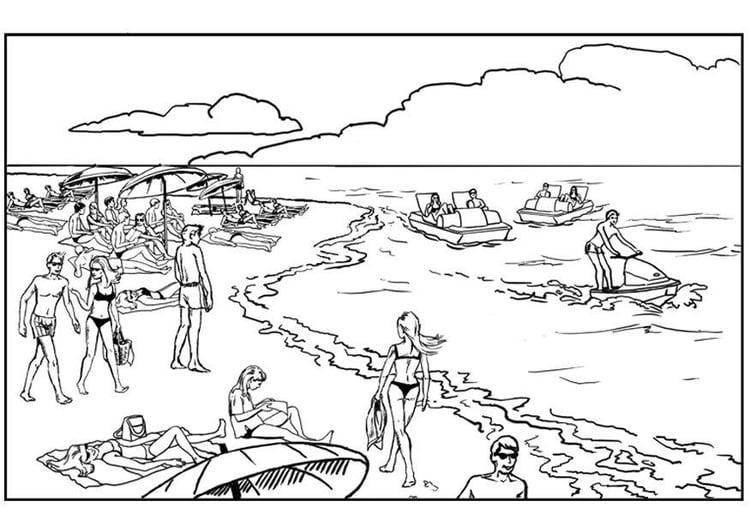 Dibujo para colorear Playa y mar - Img 7891