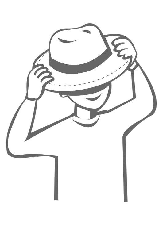 Dibujo para colorear ponerse un sombrero - Img 22540