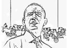 Dibujo para colorear Presidente Barack Obama