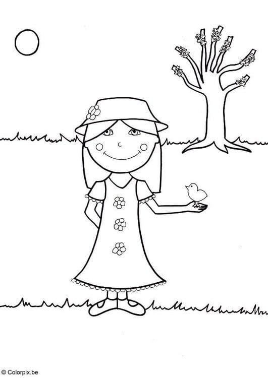 Dibujo para colorear Primavera - Img 5762