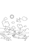 Dibujo para colorear primavera en el bosque