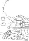 Dibujo para colorear primavera - jugando en la casa del árbol