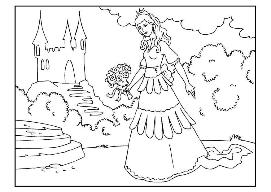 Kleurplaat Kasteel Met Prinses Dibujo Para Colorear Princesa Con Flores Img 22653