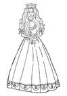 Dibujo para colorear princesa con flores