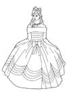 Dibujo para colorear princesa con vestido