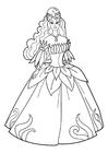 Dibujo para colorear princesa en la fiesta