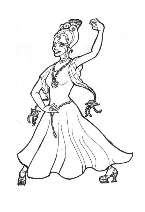 Dibujo para colorear princesa flamenca img 6027 - Dessin danseuse de flamenco ...