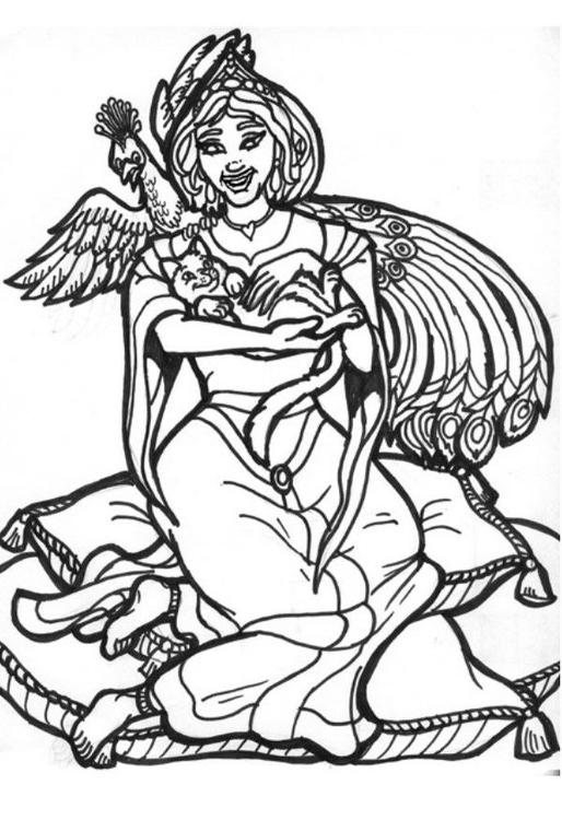 Dibujo Para Colorear Princesa Pavo Real Img 6021