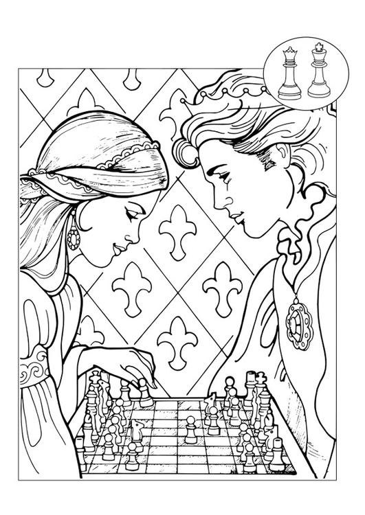 Dibujo para colorear príncipe y princesa jugando al ajedrez - Img 30090