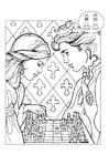 Dibujo para colorear príncipe y princesa jugando al ajedrez