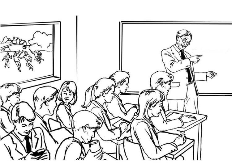 Maestra Leyendo Para Colorear: Dibujo Para Colorear Profesora Frente A La Clase