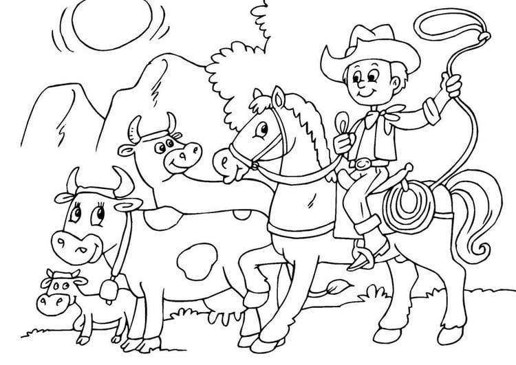 Dibujo para colorear proteger las vacas - Img 25969