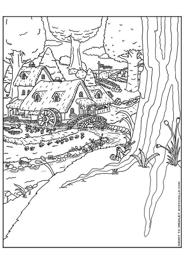 Coloring Pages The Old Water Mill