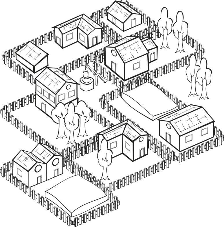 Dibujo Para Colorear Pueblo Img 16191
