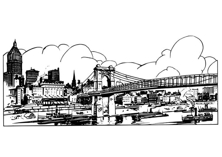 Dibujo para colorear puente - Img 27220