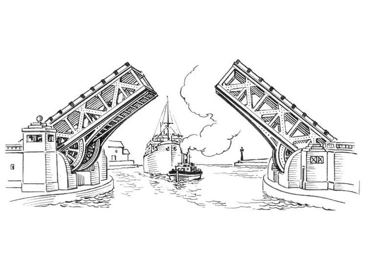 Dibujo para colorear puente - puente levadizo - Img 18893