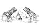 Dibujo para colorear puente - puente levadizo
