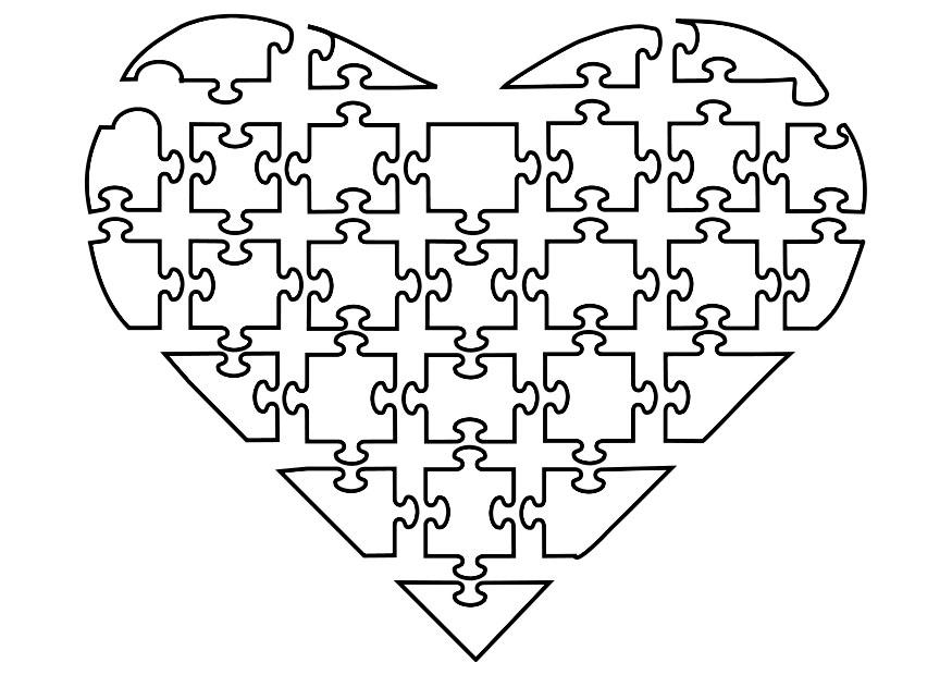 Dibujo para colorear puzle de corazón - Img 21144