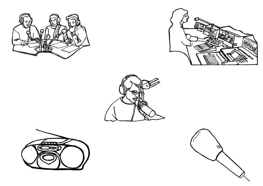 dibujo para colorear radio
