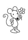 Dibujo para colorear ratón con flor