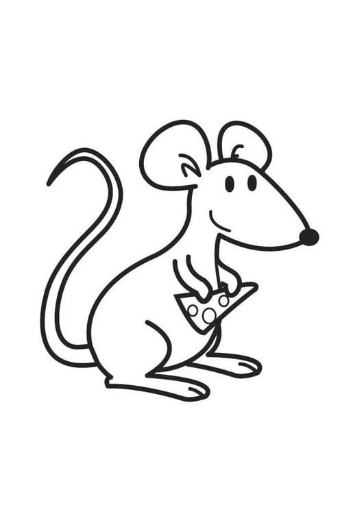 Dibujo para colorear ratón con queso   Img 17761