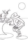 Dibujo para colorear Recoger huevos de pascua