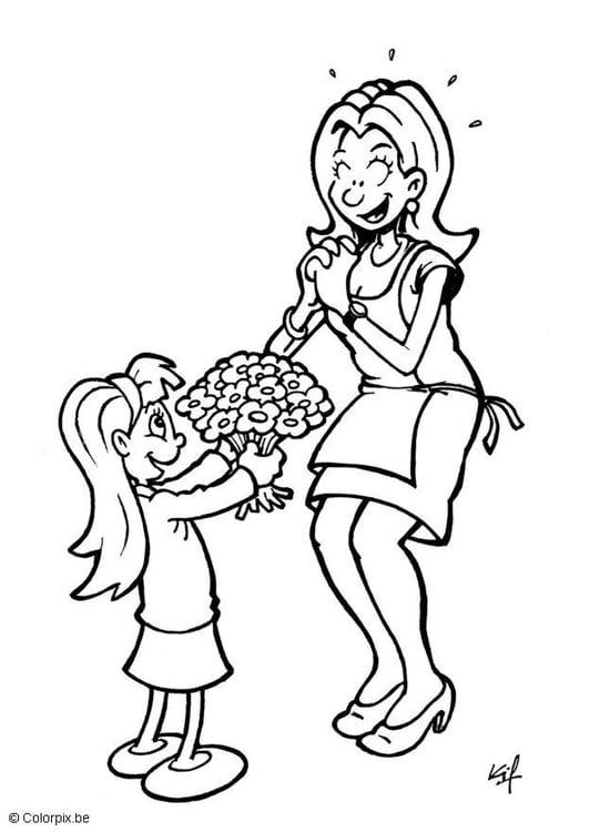 Dibujo para colorear Regalar flores el día de la madre - Img 5713