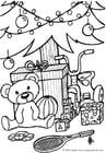 Dibujo para colorear Regalos debajo del árbol