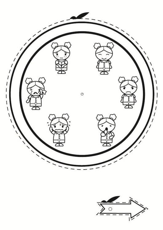 Dibujo para colorear reloj de las emociones - Img 24015