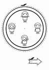 Dibujo para colorear reloj de las emociones - niños