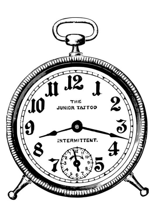 Dibujo para colorear reloj despertador - Img 27882