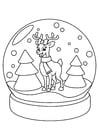 Dibujo para colorear reno en globo de Navidad