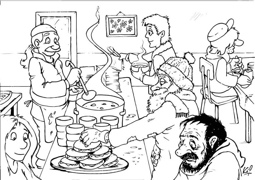 Dibujo Para Colorear Repartición De Sopa Img 26986