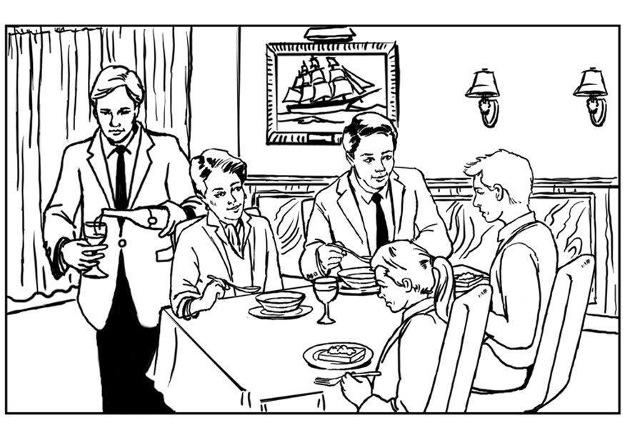 Dibujo Para Colorear Restaurante