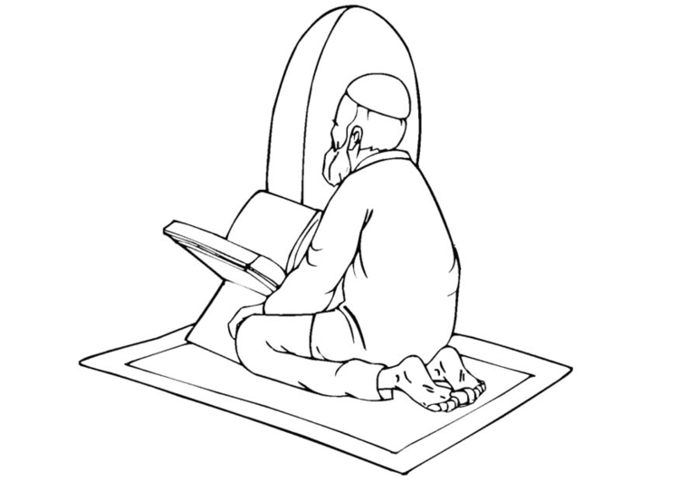 Dibujo para colorear Rezo islámico - Img 11275