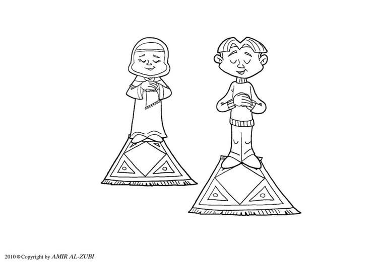 Dibujo para colorear ritual de oración - salat - Img 22025