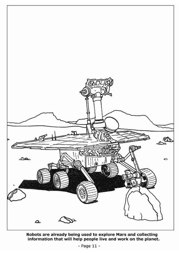 dibujo para colorear robot reconociendo marte dibujos