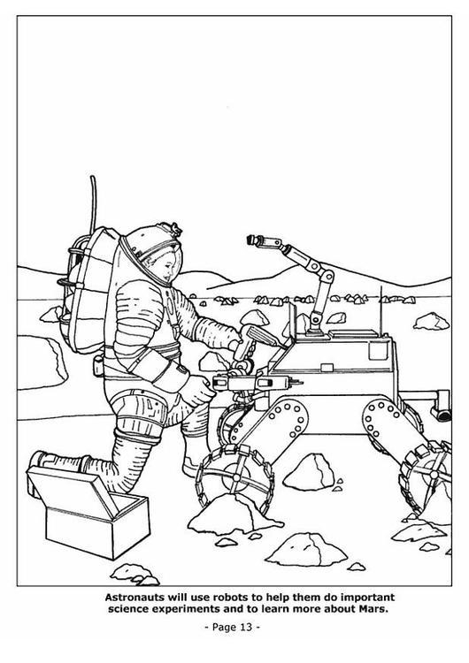 Dibujo para colorear Robots ayudando a los astronautas - Img 4193